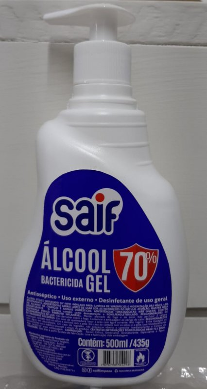 ÁLCOOL GEL 500ML SAIF PUMP 70°